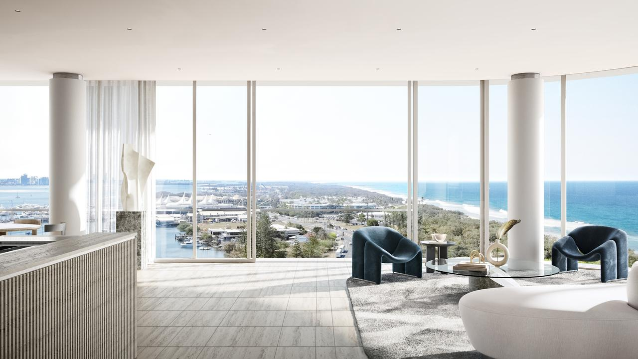 Artist impressions of the interior of The Monaco tower in Main Beach from Ignite projects.
