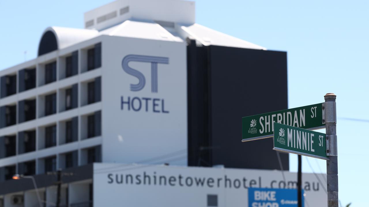 The Sunshine Tower Hotel on Sheridan Street, where the body of Brisbane man Anthony Brady, 52, was found on Friday. Picture: BRENDAN RADKE
