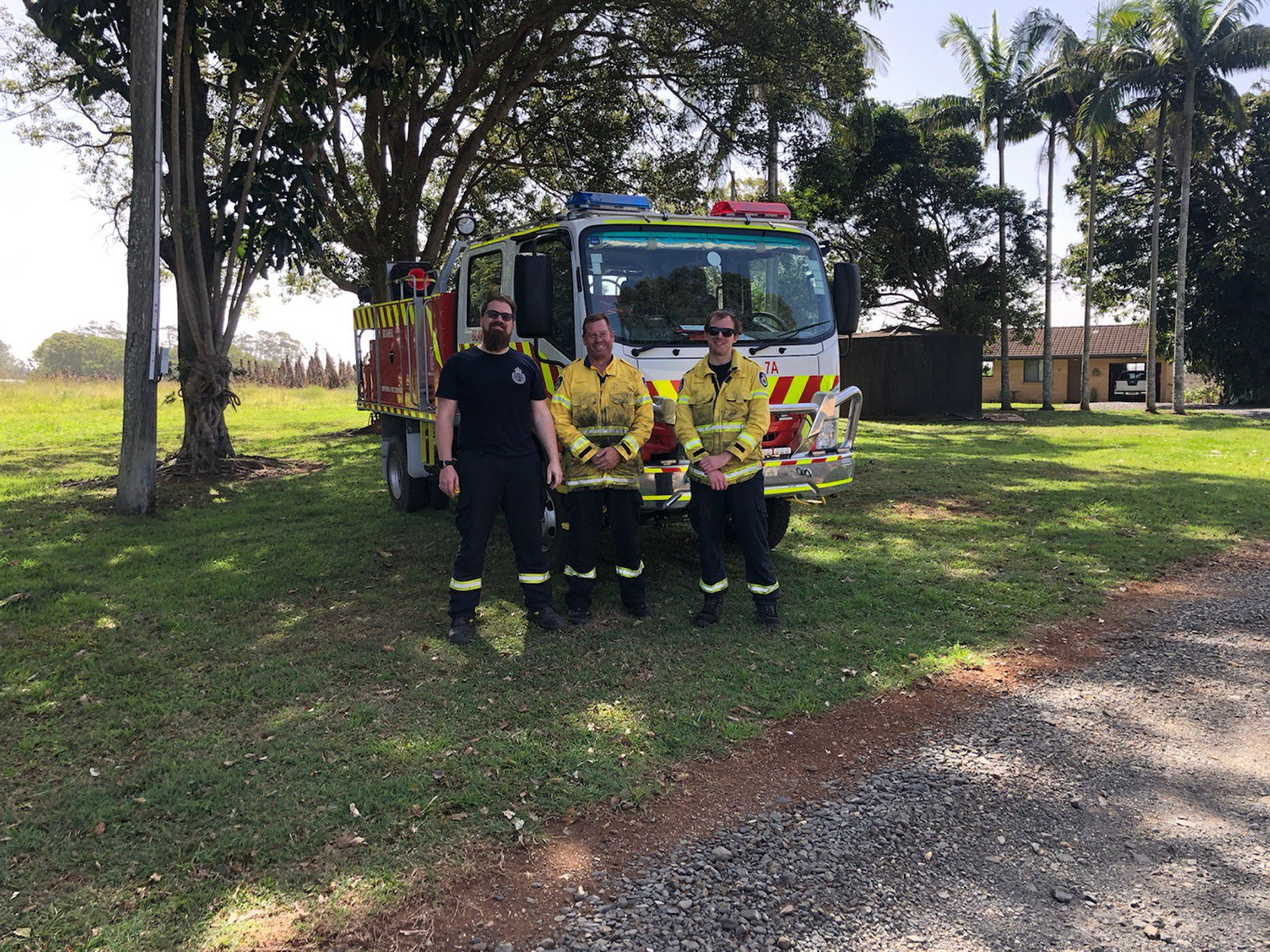 RFS crew from Bilambil brigade on the fireground at Duranbah Rd.