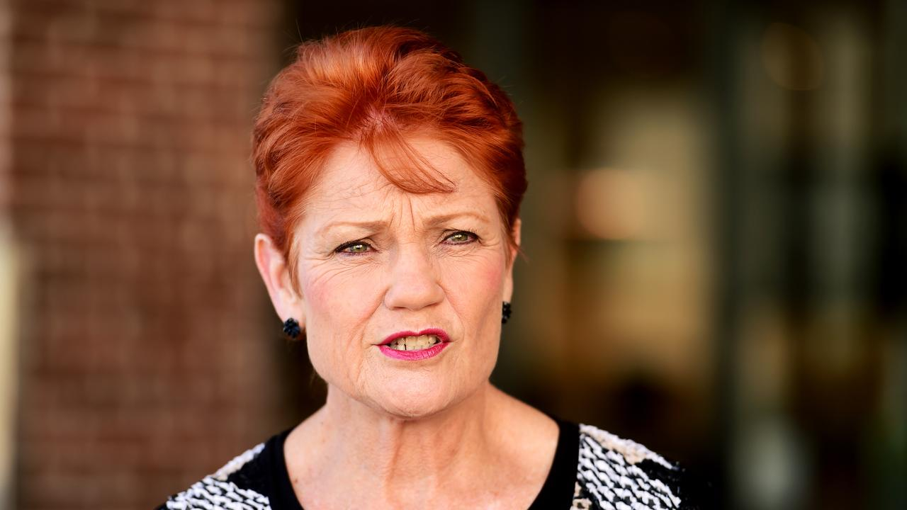 Pauline Hanson in Townsville to endorse her One Nation Candidate for Thuringowa, Troy Thompson. Picture: Alix Sweeney