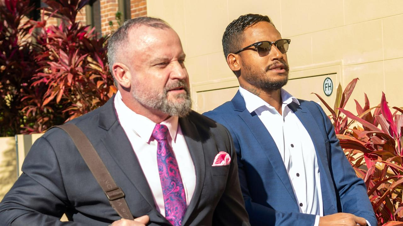 Ben Barba and his lawyer, Campbell McCallum outside Mackay courthouse. Photo: Daryl Wright