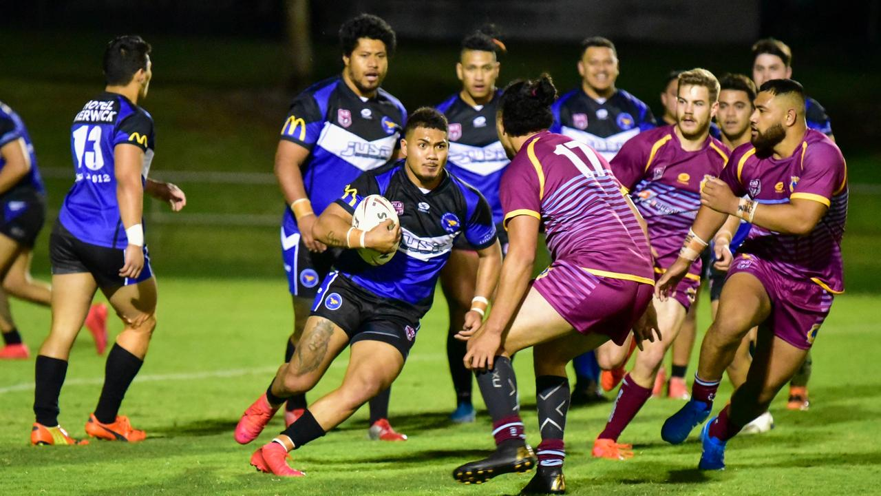 Action from the Round 3 Rugby League Ipswich Volunteers Cup match between Goodna Eagles and West End Bulldogs at the North Ipswich Reserve. Picture: Bruce Clayton