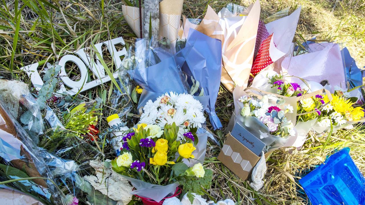 A roadside memorial left for the victim's of the Upper Coomera crash. Picture: Nigel Hallett