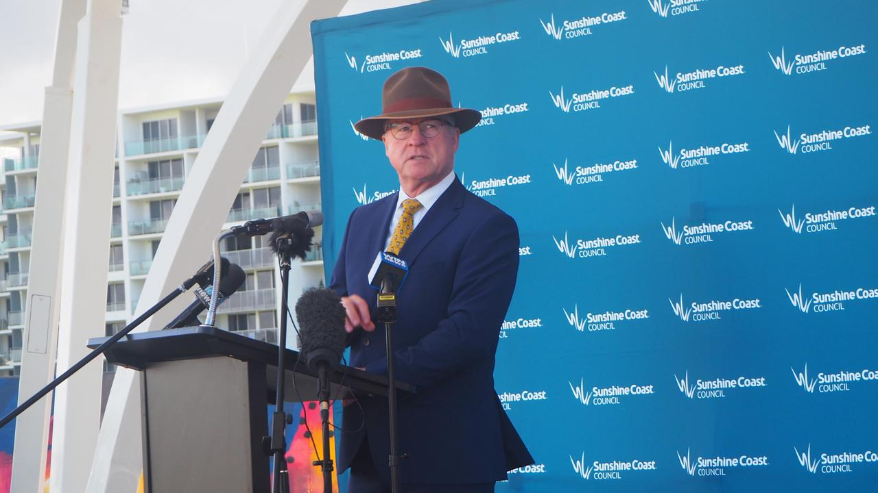 Sunshine Coast Council Mayor Mark Jamieson announcing the start of construction for the new city hall at Maroochydore City Centre.