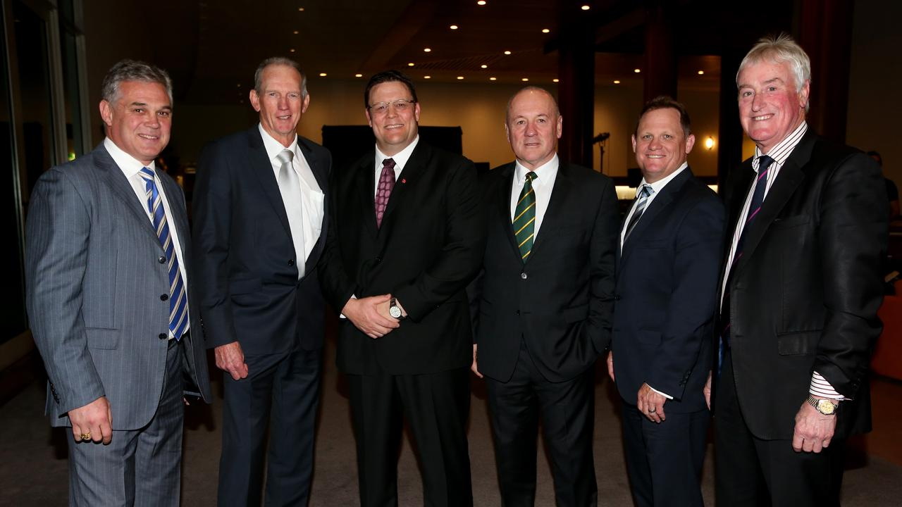 Chris Johns (left), with Wayne Bennett, Glenn Lazarus, Tim Sheen, Kevin Walters and Geoff Carr.