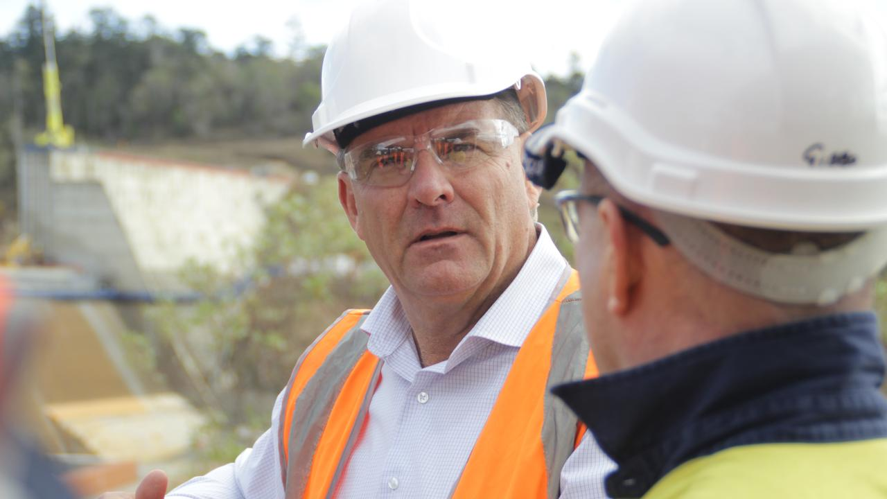 Member for Burnett Stephen Bennett visited Paradise Dam last month where works are currently underway on lowering the spillway wall by 5.8m. Photo: Contributed