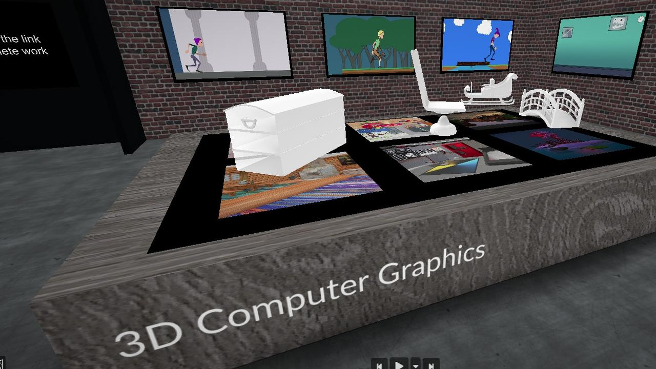 Images of the virtual 3D exhibition created my Mackay CQUni Digital Media students.
