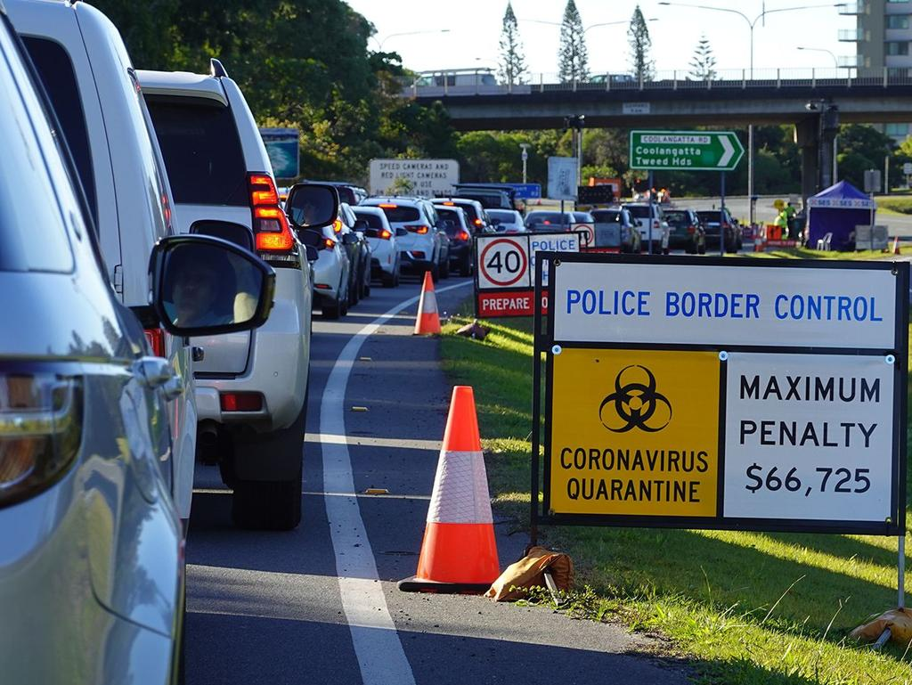 Long lines can be seen at the NSW and Queensland border with reports of people being separated from ill family members becoming more common.