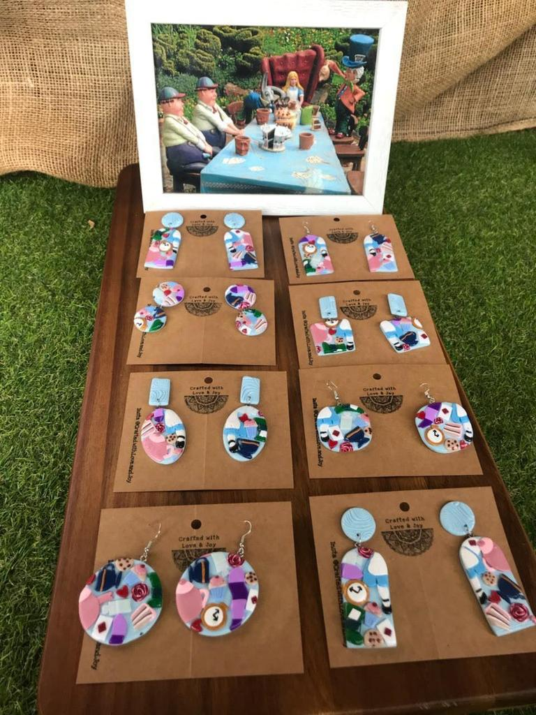 MAD EARRINGS: Start-up business owner Rebecca Joy experiments with all kinds of designs, including this Alice In Wonderland inspired collection.