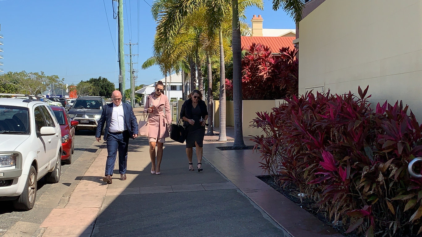 Shannah Blackburn and Vicki Blackburn, Shandee's sister and mother, and Paul Beardmore, Vicki's husband, arrive at Mackay courthouse to hear Coroner David O'Connell hand down his findings into the 23 year old's death. Picture: Janessa Ekert