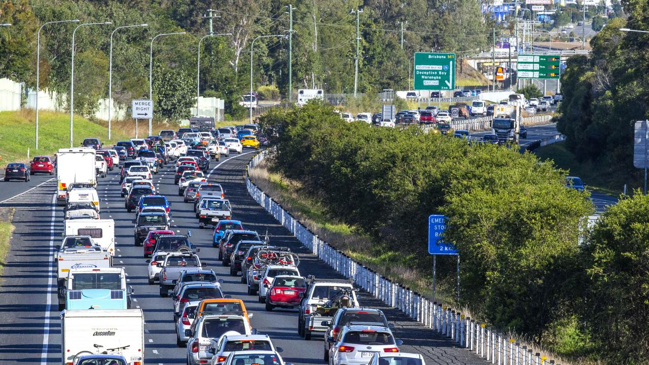 Traffic heading from the Sunshine Coast along the Bruce Highway through Burpengary last weekend. Picture: Richard Walker