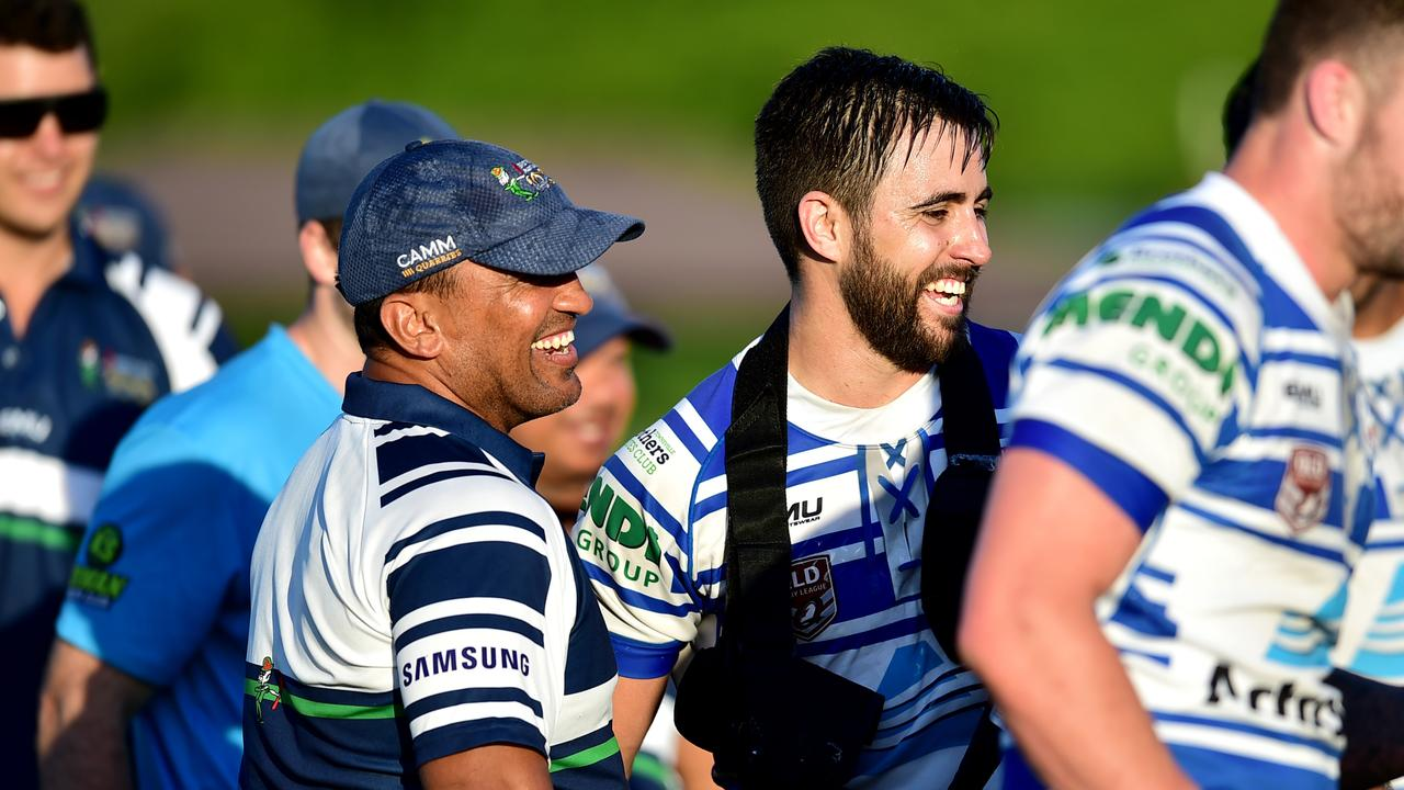Townsville Brothers coach Roy Baira (left) with skipper Nathan Norford. Picture: Alix Sweeney