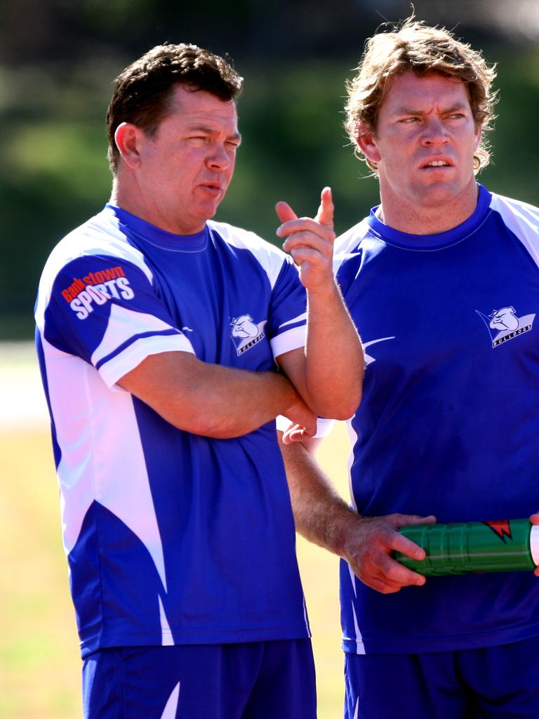 Kevin Moore with Brett Kimmorley at the Bulldogs.