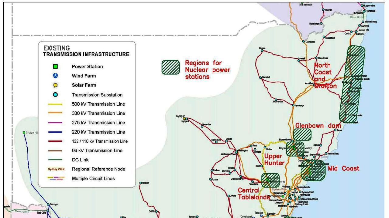 Nuclear for Climate Australia website identifies regions of interest for nuclear power plants in NSW.