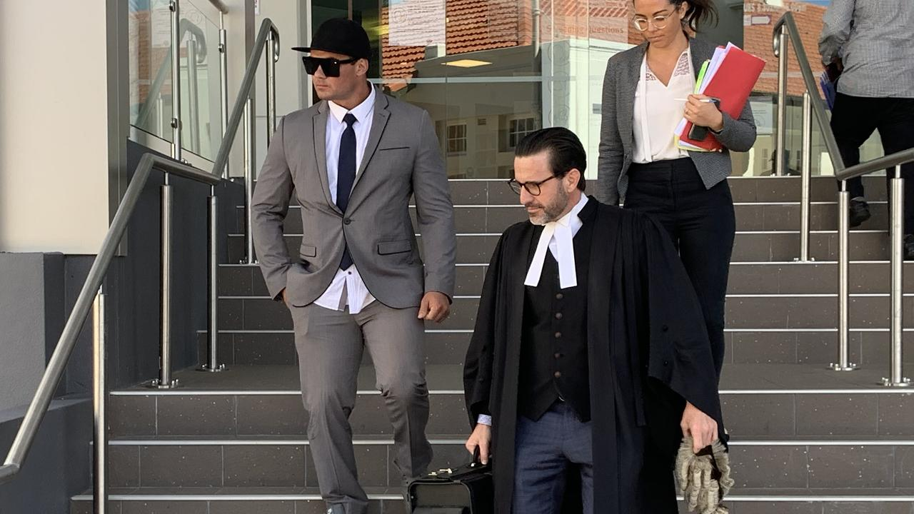 Rhys Cambridge Fraser, 31, leaving Rockhampton courthouse with defence barrister Jordan Ahlstrand and lawyer Ashlee Brew, after being sentenced to 2.5 years prison over possessing MDMA, cocaine, marijuana and steroids in Blackwater on July 26, 2019.