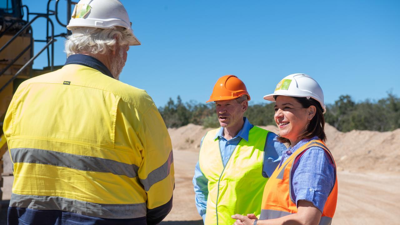 LNP Opposition leader Deb Frecklington with Member for Lockyer Jim McDonald at Rock Trade Industries Helidon. PHOTO: ALI KUCHEL