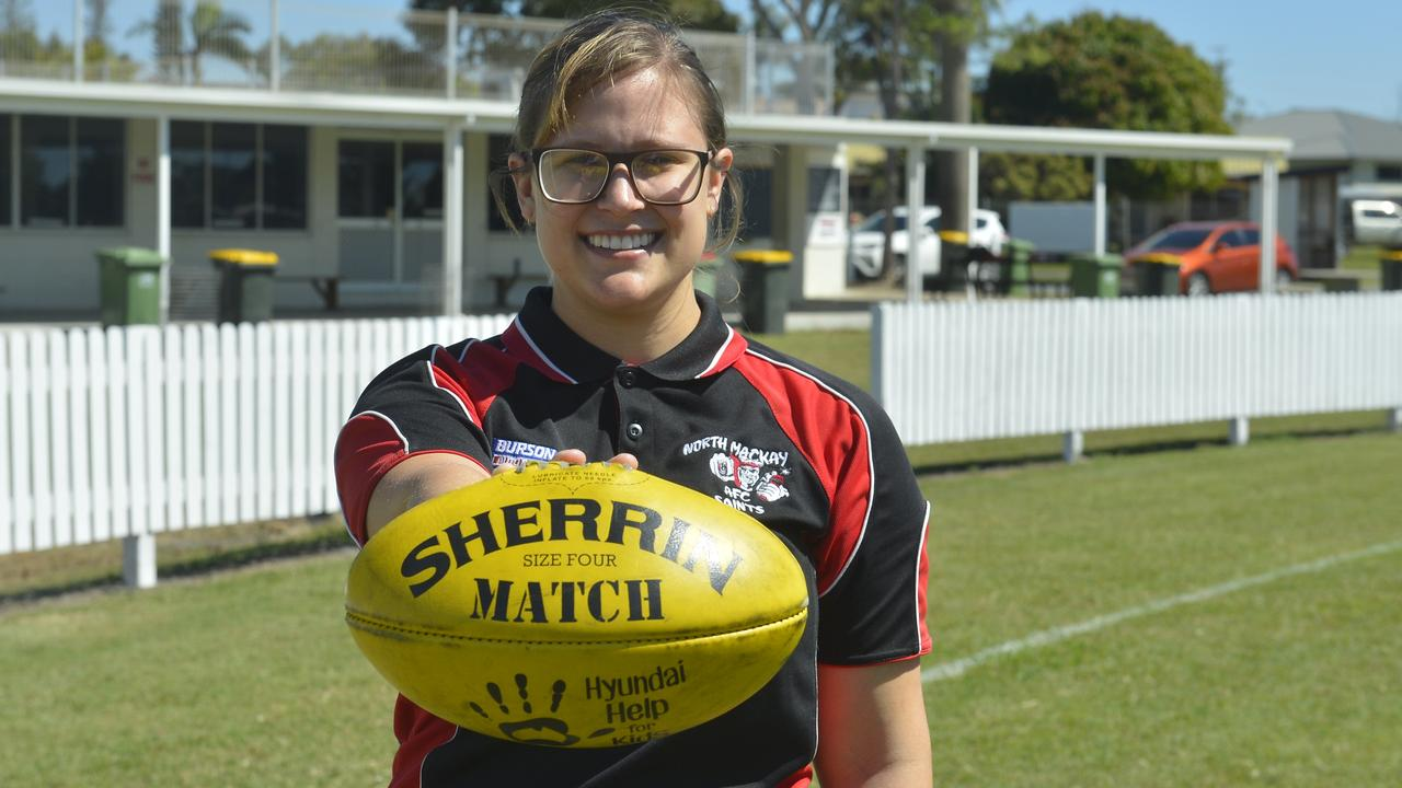 North Mackay Saints' Rahnee Vaccaneo will become the first AFL Mackay Women's player to notch 100 club games when she runs out against Mackay City Hawks at the weekend. Photo: Callum Dick