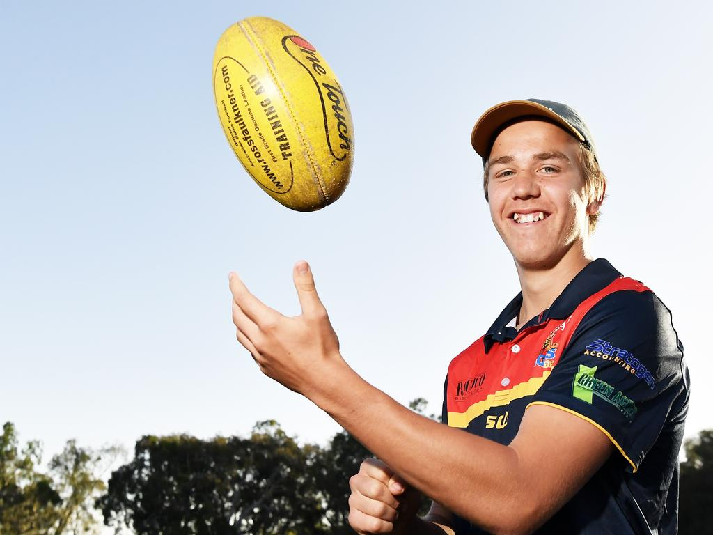 16-year-old Shadeau Brain already playing senior footy for the Noosa Tigers, and carving up. Following in the footsteps of his older brothers who also played for the Tigers. Photo Patrick Woods