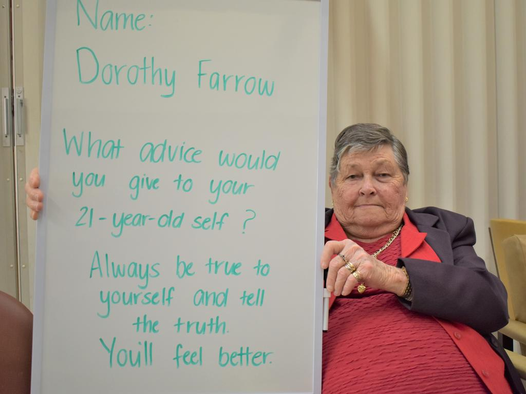St Francis of Assisi resident Dorothy Farrow with the advice she would give to her 21-year-old self. Picture: Heidi Petith
