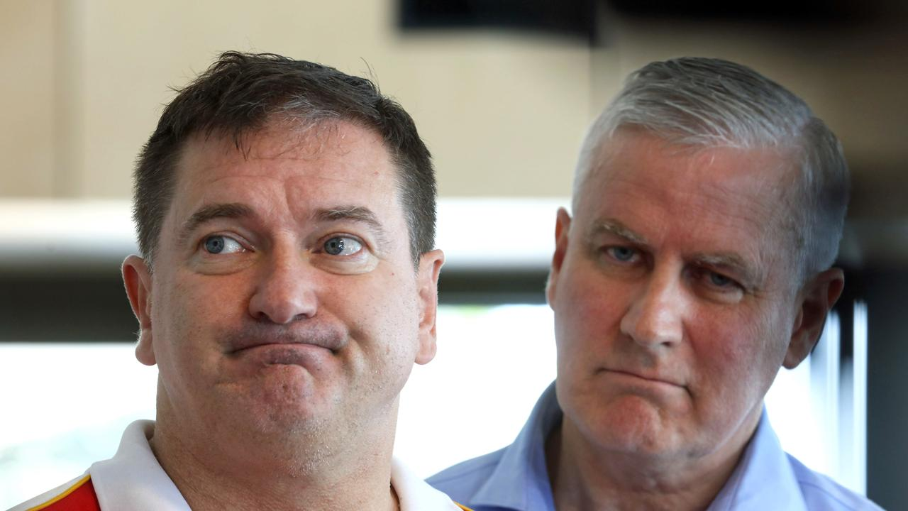 Deputy Speaker and Member for Wide Bay Llew O'Brien (left) is at loggerheads with party leader and Deputy Prime Minister Michael McCormack, announcing he will not endorse proposed upgrades to the Bruce Highway at Tiaro. (AAP Image/Bruce Long)