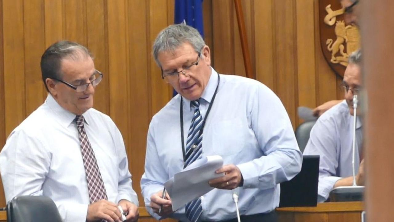 Clarence Valley Council mayor Jim Simmons and director corporate Ashley Lindsay discuss the agenda before a council meeting.