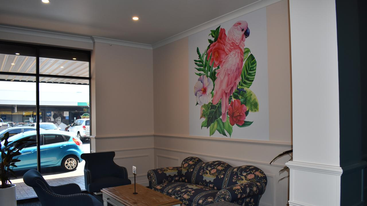 A seating area near the bistro with a bright and unique artwork. Picture: Rhylea Millar