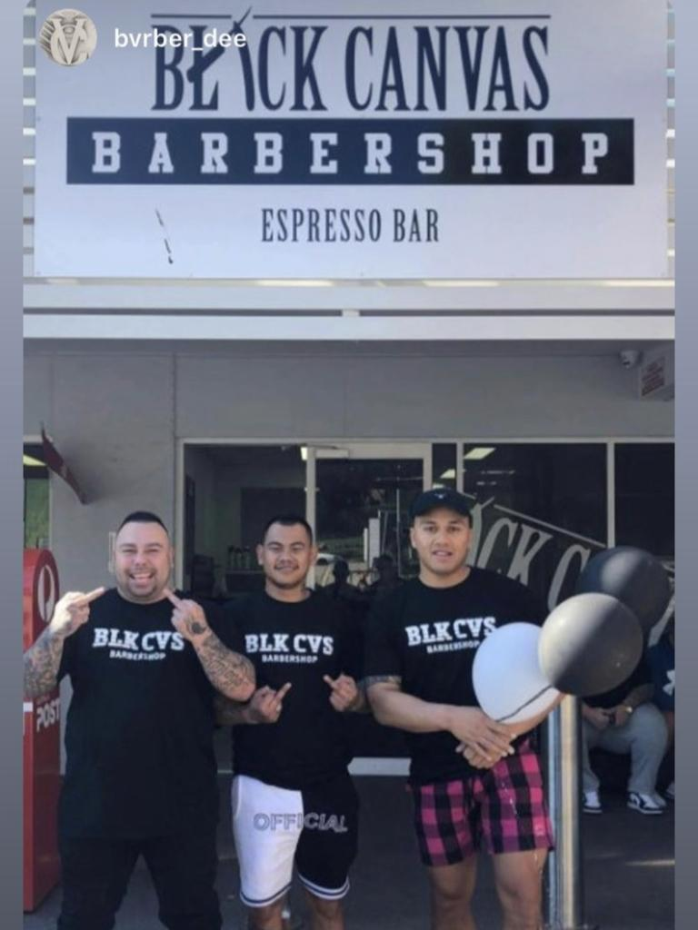 The launch of Black Canvas Southside barber shop in Brisbane that Pangai Jr attended.