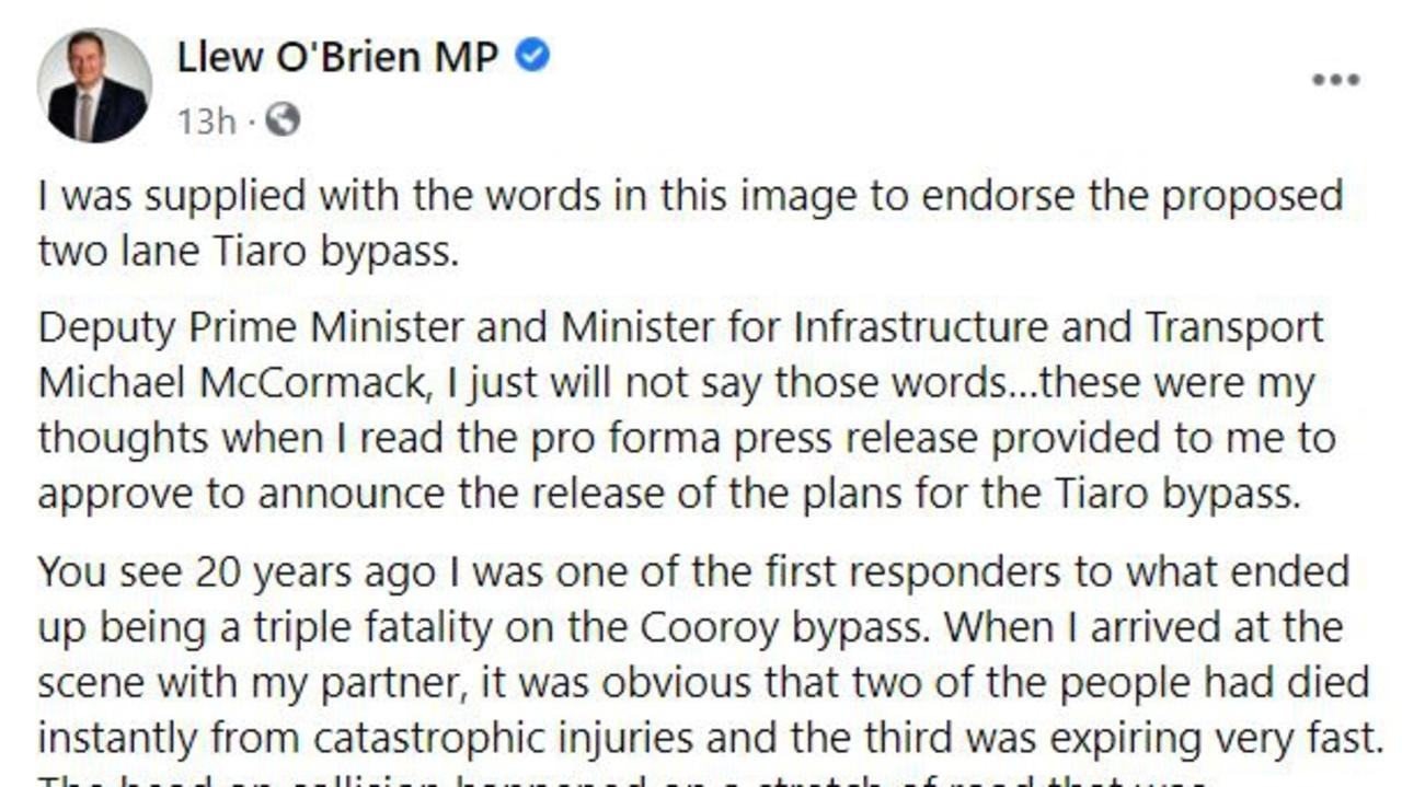 Part of Mr O'Brien's statement slamming the Tiaro bypass proposal.
