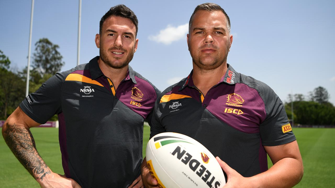Anthony Seibold and Darius Boyd. Picture: AAP Image/Dan Peled