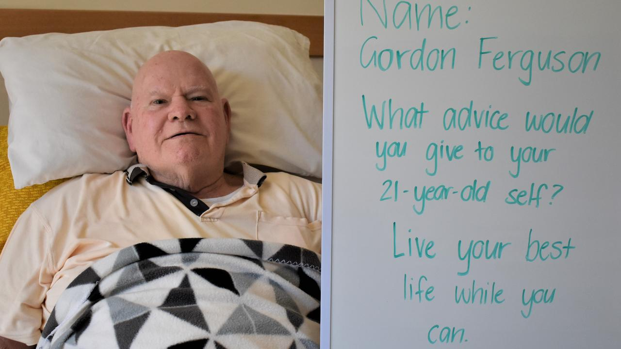 St Francis of Assisi resident Gordon Ferguson with the advice he would give to his 21-year-old self. Picture: Heidi Petith