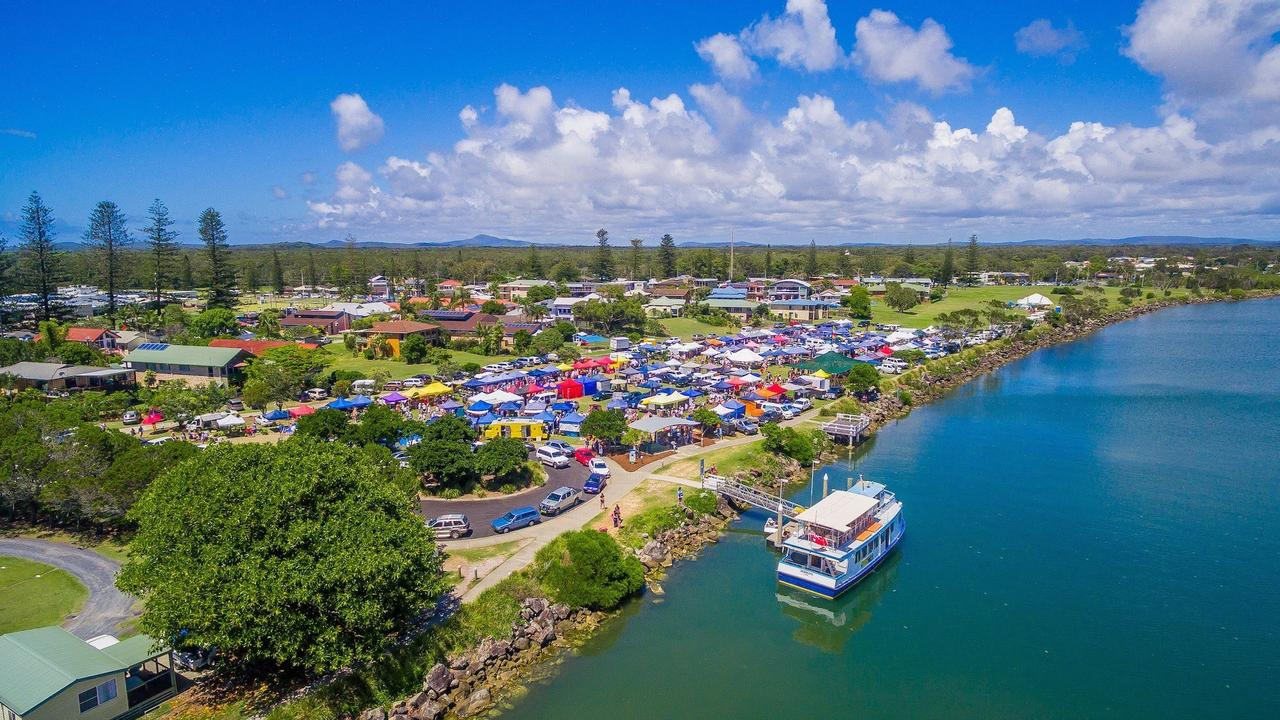 Bird's eye view of the Yamba river markets.