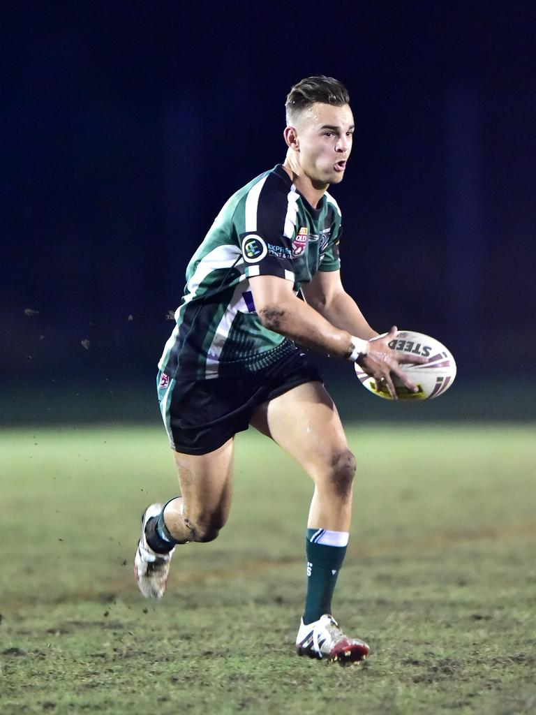 Brad Kent runs the ball for Maroochydore. Photo: Che Chapman