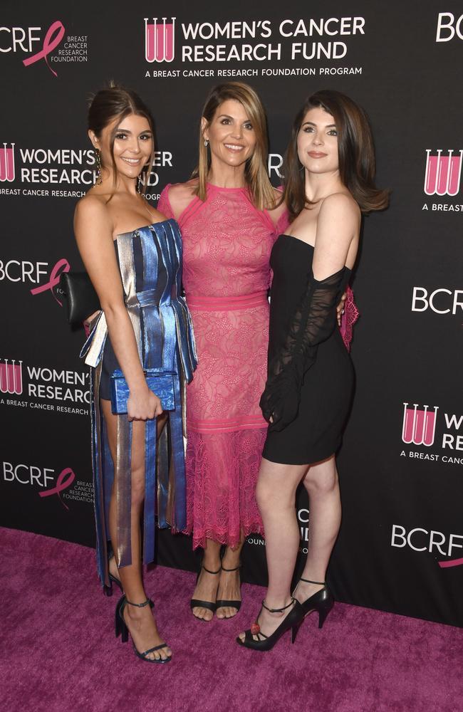 Olivia Jade Giannulli, Lori Loughlin and Isabella Rose Giannulli in 2019. Picture: Frazer Harrison/Getty Images