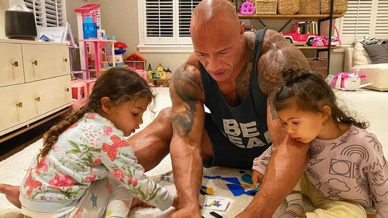 The Rock with his daughters. Picture: Instagram