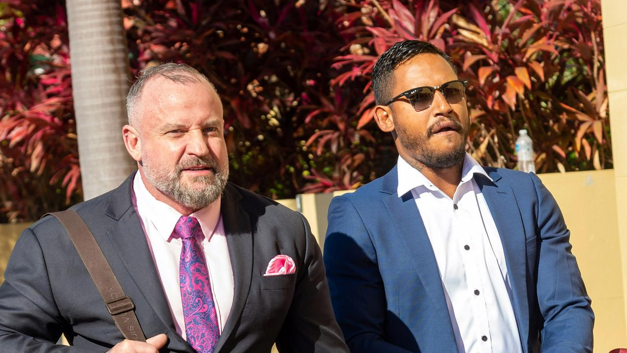 Mackay, 19 Aug 20, Ben Barba at Mackay Court. Ben Barba's Lawyer, Campbell McCallum at press interview after Ben was remanded overnight for sentencing tomorrow. Photo: Daryl Wright