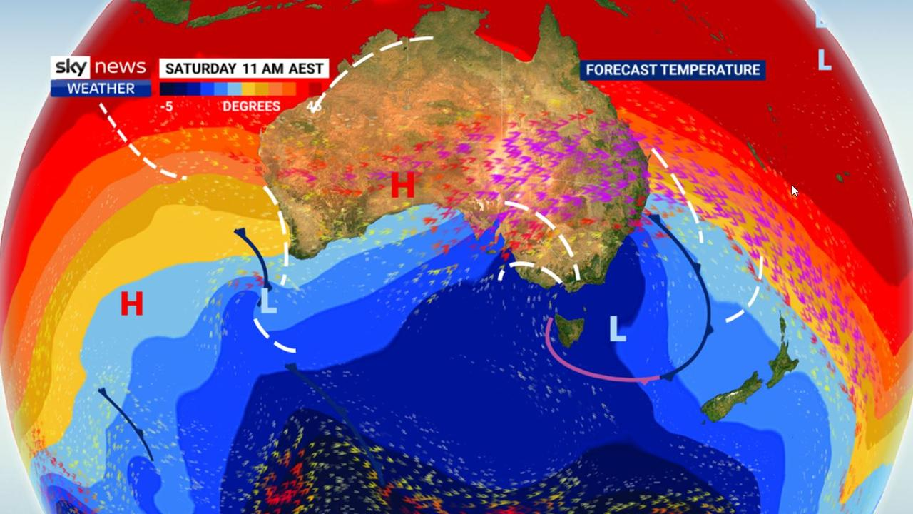 A mass of cold Antarctic air is surging up from the pole. Picture: Sky News Weather.