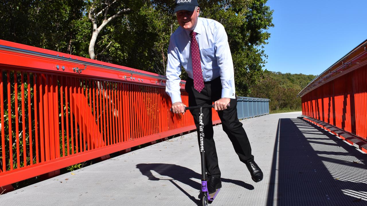 Mackay Regional Council Mayor Greg Williamson riding along the new Ron Serle Drive walkway, which was planned to be part of this year's Mayor's Marina Walk.