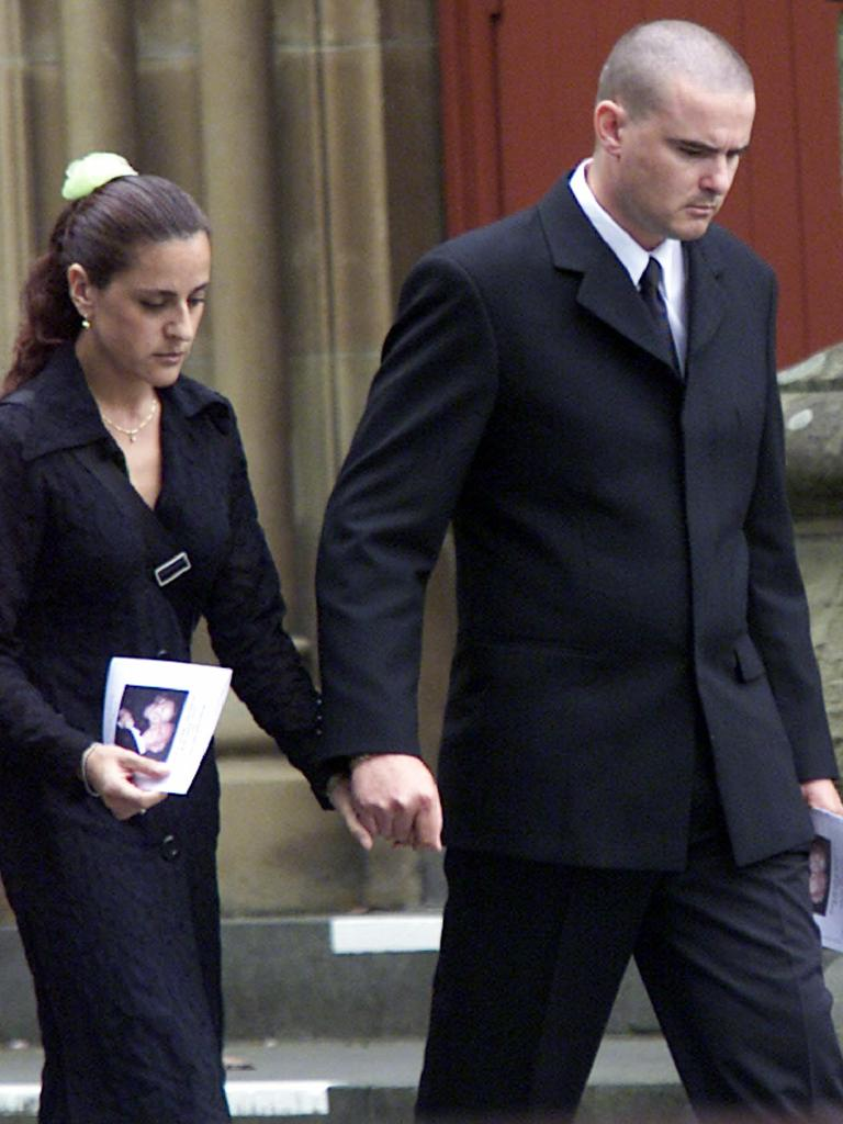 Wales with his wife Maritza at his mother's memorial service.
