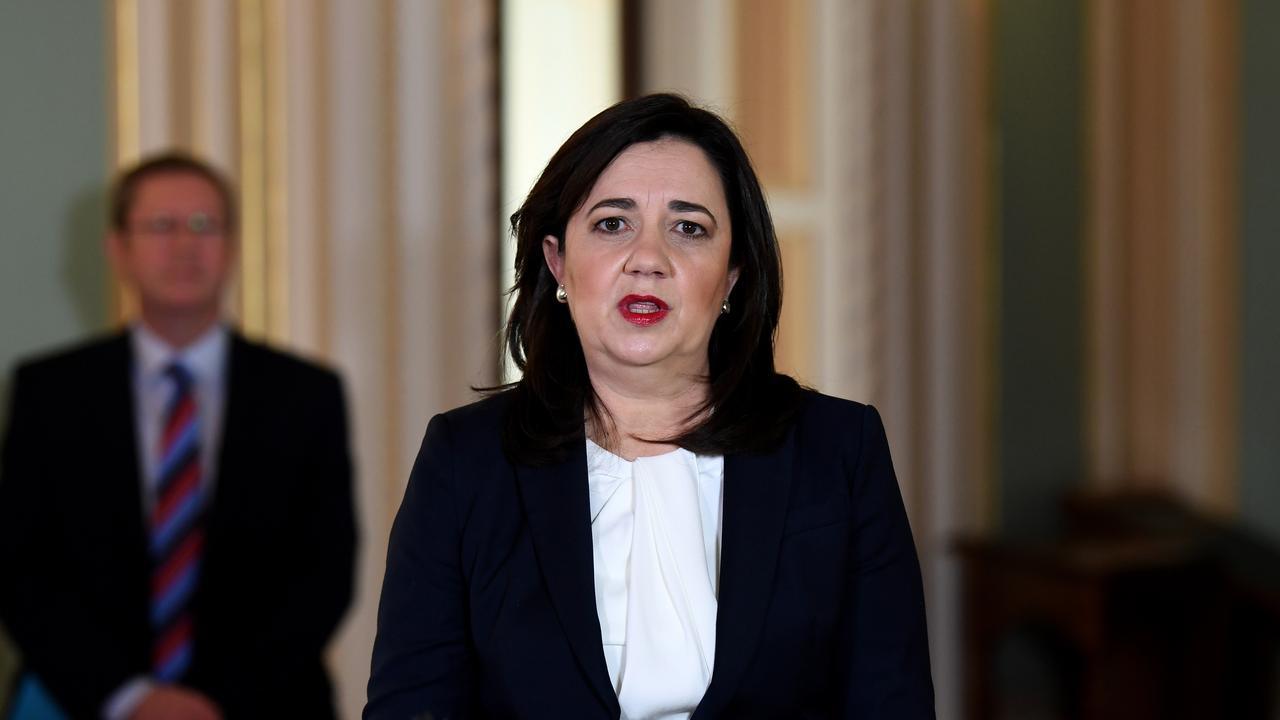 Queensland Premier Annastacia palaszczuk speaks at a press conference at Parliament House in Brisbane. Picture: NCA NewWire / Dan Peled