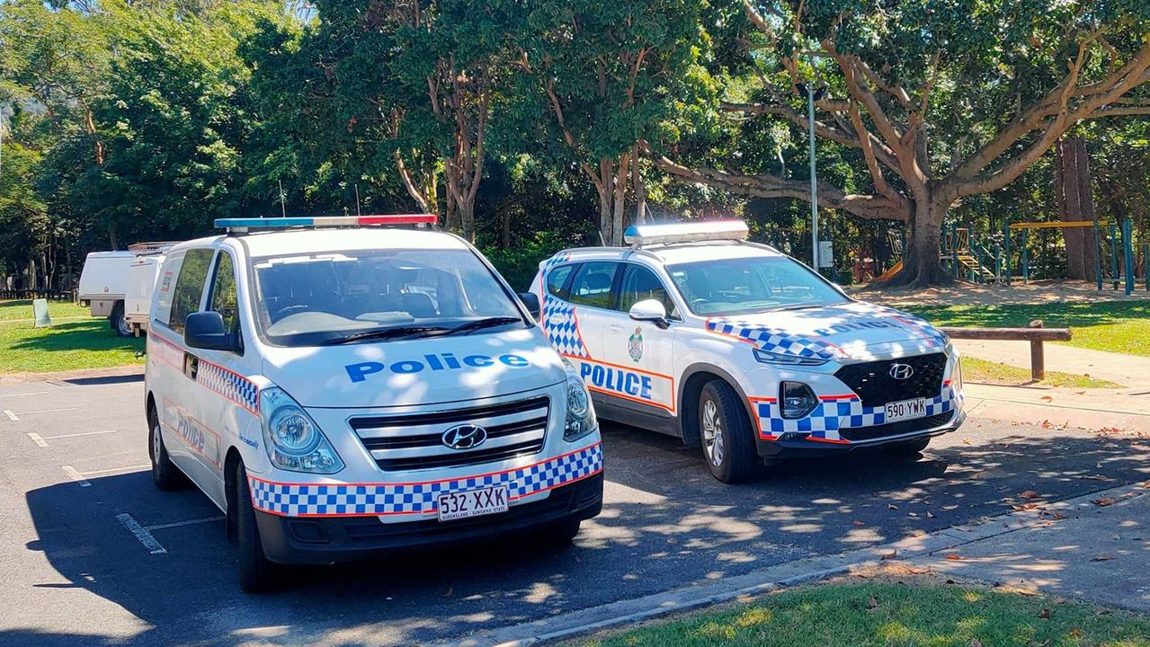 Police have established a crime scene in a creek at Diwi Diwi St in Manoora after reports of an assault. PICTURE: CHRIS CALCINO