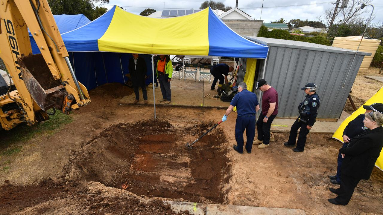 Police were digging up the backyard when Adams confessed and pointed out the location of his wife's remains. Picture: AAP/David Mariuz