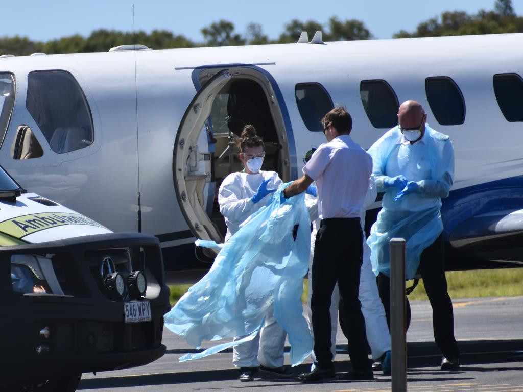 Two crew members who tested positive to coronavirus on a cargo ship were flown to the Sunshine Coast on Saturday morning. Picture: Zizi Averill