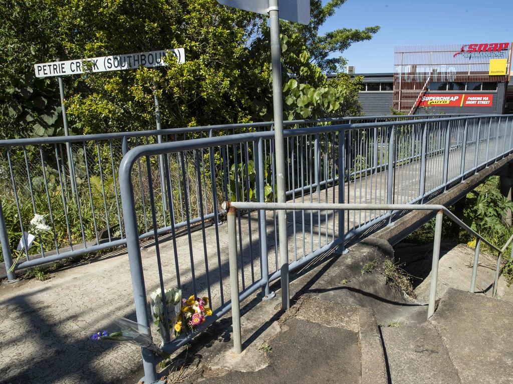 Scene at Petrie Creek Bridge in Nambour where a 31-year-old woman was allegedly murdered in the early hours of Saturday morning. Photo Lachie Millard