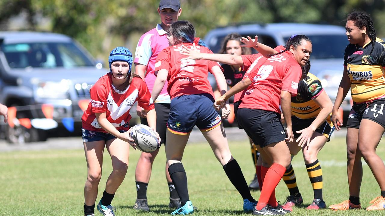 Colts' Alenna Whipp put in three strong performances in the round robin with Cap Coast and Biloela at T.A. Nutley Field on Saturday. Picture: Jann Houley