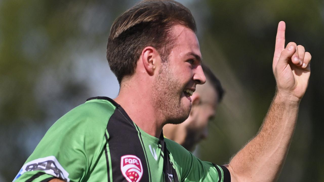 Ipswich Knights sharpshooter Lachlan Munn scored the opening goal in the Football Queensland Premier League local derby against Western Pride. Picture: Cordell Richardson