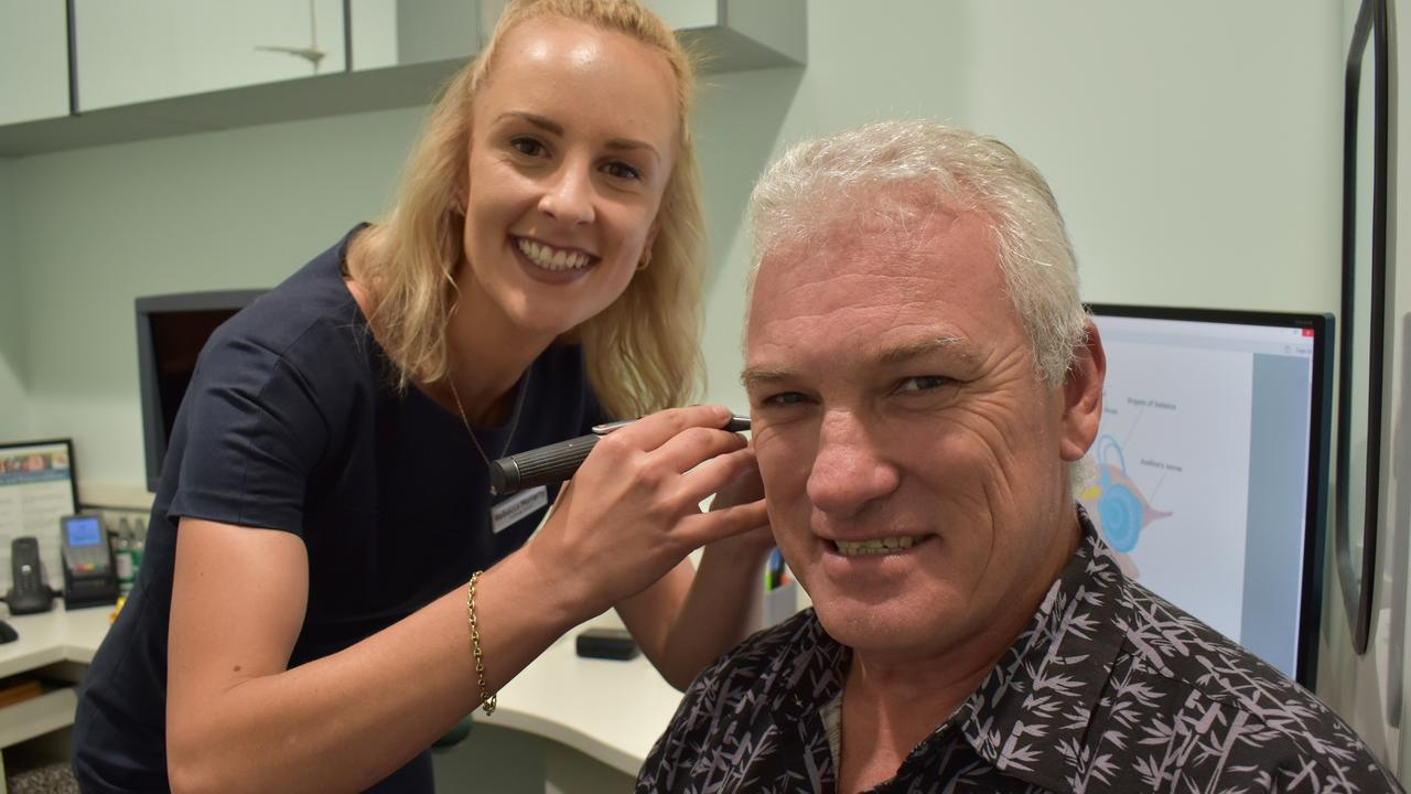 Specsavers Mackay and Cannonvale audiologist Rebecca Moriarty conducting a hearing test on Andergrove miner Adam MacDonald, 54. Picture: Zizi Averill