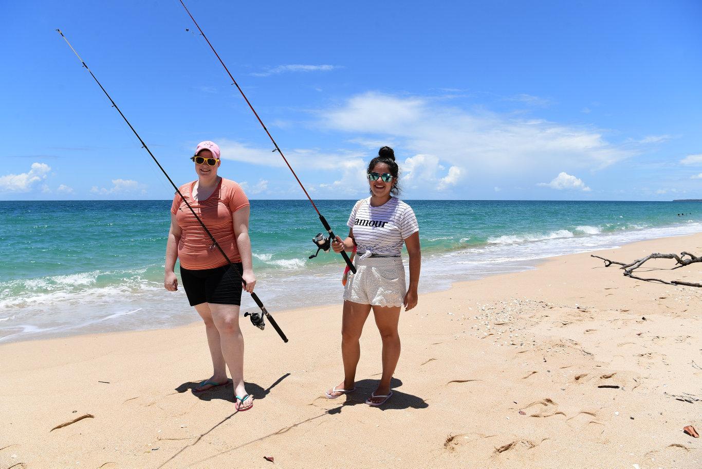 Sarah Johnson and Beth Falzon at Woodgate Beach.