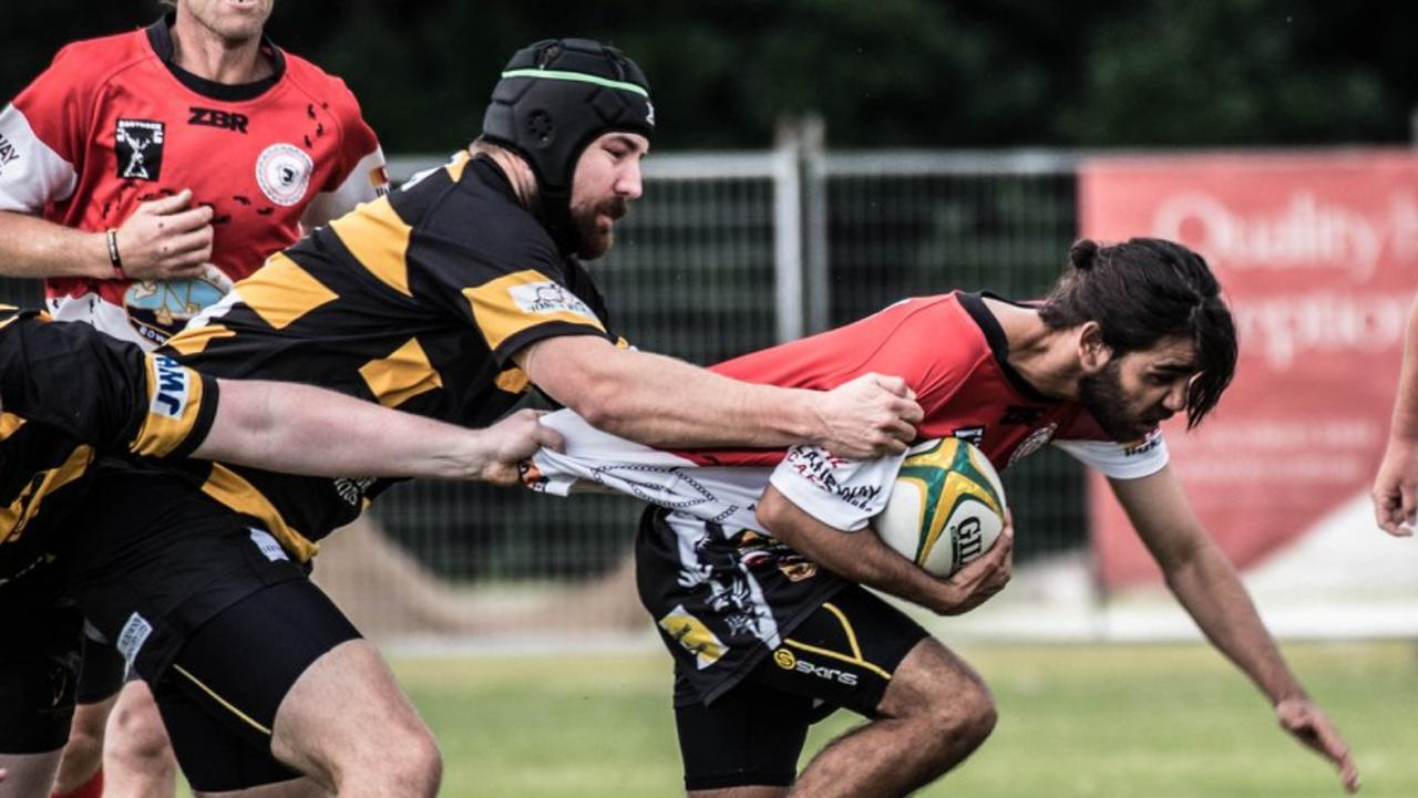 Iluka Cossacks go to battle against Tenterfield in a big win earlier this season. Picture: Peter Johnson