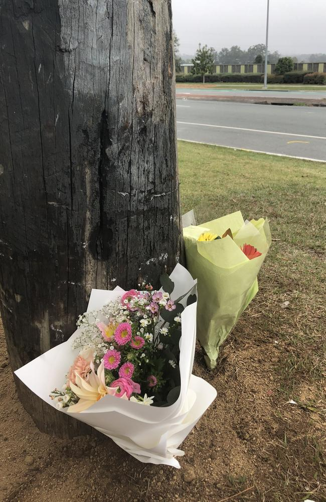 Flowers left at the site of a tragic car crash which lead to the death of Genesis Christian College student Alyssa Postle. Picture: Facebook.