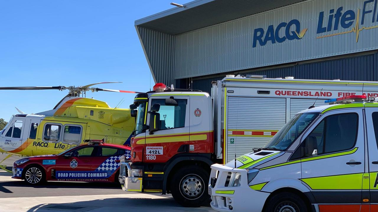 EMERGENCY CREWS ASSEMBLE: RACQ LifeFlight Rescue and emergency services join forces to launch Queensland Road Safety Week.